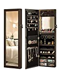 LUXFURNI Mirror Jewelry Cabinet 79 LED Lights Wall-Mount/Door-Hanging Armoire, Lockable Storage Organizer w/Drawers