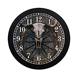 INTERESTPRINT Vintage Bull Skull and Old Western Wagon Wheel on Wooden Wall Modern Round Wall Clock Decorative Quartz Clock for Office School Kitchen Bedroom Living Room, Black