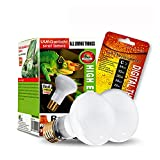 MCLANZOO 2 Pack 75W Reptile Heat Lamp Bulb/Light, UVA Basking Spot Heat Lamp for Lizard,Tortoise,Bearded Dragon, Hedgehogs Reptiles & Amphibians with Stick-on Digital Temperature Thermometer