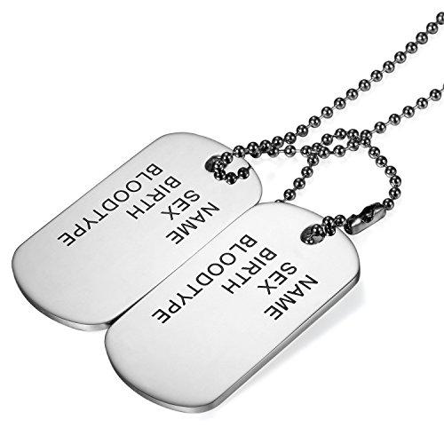 Cupimatch Hundemakre Herren Halskette Edelstahl 2pcs Dog Tag Männlich Schmuck Soldat Personal Erkennungsmarken Militärischen Armee Hals Anhänger mit 72cm Kugelkette Silver Silberig