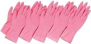 左右兼用薄型家庭用ゴム手袋 ピンク 繰り返し利用 作業 キッチン 掃除 炊事 食器洗い 園芸 10枚入
