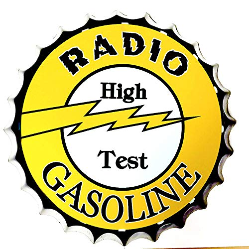 SKYNINE INC Tin Teken Fles Cap Radio High Test Benzine Motorolie Vintage Tin Teken Muurdecoratie voor Bar/Cafe/Home Keuken/Restaurant/Garage/Man Grot/Lounge/Outdoor Decor 13,8 inch.