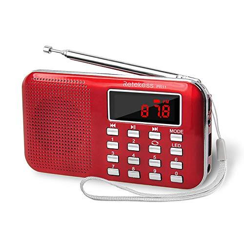 Retekess PR11 AM FM Radio Portable, Rechargeable Radio Digital Tuning, MP3 Music Player Speaker Support TF, AUX, USB Port(Red)