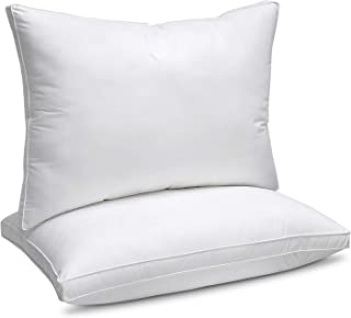 """JZS Down Alternative Pillow (2 Pack)100% Cotton Top Bed Pillow with 1.2"""" Gusset (King Size 50x90cm- Vacuum Packed)"""