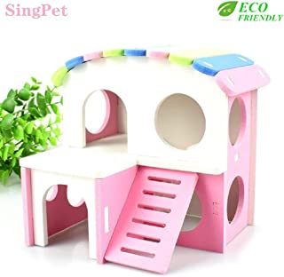 Hamster Hideout, Dwarf Hamster House Exercise Play Toys Ecological Two-Storey Wooden Hut Safe Non-Toxic Hamster Cage Accessories for Hamsters, Hedgehog, Mice, Sugar Gliders, Small Animals