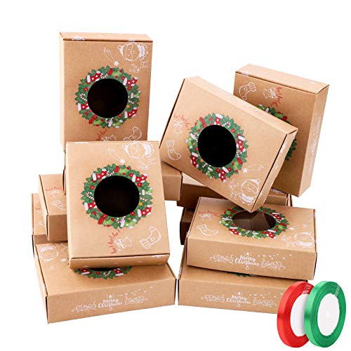 12pcs Boites Cadeau Noël décoratives papier noël et 2 rouleaux de ruban, cadeau de bricolage boîtes de gâteaux boîtes de friandises décoratives boîtes de friandises,de gâteaux,biscuits,cupcakes