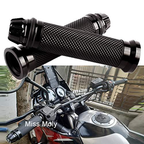 "Empuñadura de Manillar de Motocicleta de 7/8"" 22mm, Antideslizante Caucho Empuñaduras de Moto Manillar (Negro)"