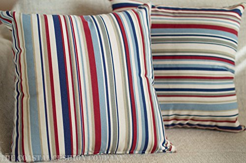 Nautical Striped Red and Blue Cushion Cover. 100% Cotton 17' x 17' Square Cushion Case in Marine Seaside Colours