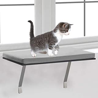 Pet Cat Window Seat Perch, Foam Cushion Pet Kitty Window Seat Perch With Fleece Cover | Mounted Shelf Bed for Pets | Sturdy Couch for All Kitten Sizes | Window Hammock Bed Pet Cat Seat (Gray)