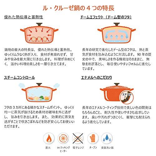 ル・クルーゼ(LeCreuset)鋳物ホーロー鍋ココット・ロンド22cmオレンジガスIHオーブン対応【日本正規販売品】