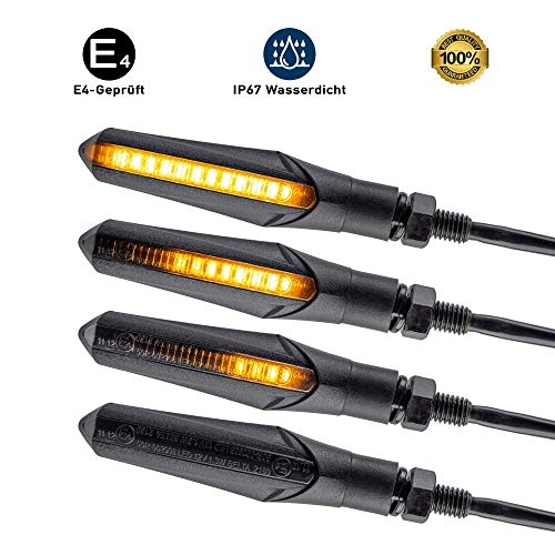 E - Mark LED Motorrad Blinker Lauflicht Universal Sequentiell Laufeffekt Quad ATV Roler Lauflichtblinker Super Optik und Schön Hell Wasserprüf IP67