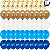 Navy Blue and Gold Confetti Balloons Party Decoration - 60 Pack | Light Blue and White Balloons |, Chrome Gold Balloons for Navy Party, Baby Shower, Wedding, Graduation, Bachelorette, Birthday