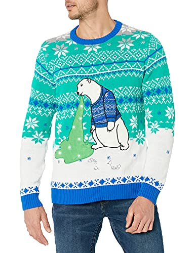 Blizzard Bay Men's Polar Bear Light Up Ugly Christmas Sweater, Blue/White/Green, Medium -  Blizzard Bay Mens Apparel, ME20070-460-M