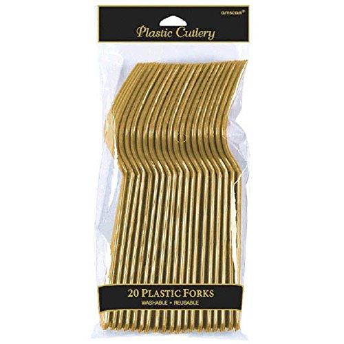 Pack of 20 Gold Plastic Forks