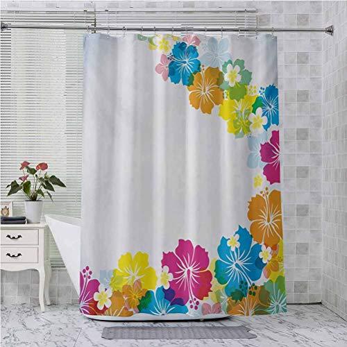 Cortina de ducha con ganchos, diseño de borde colorido vibrante con flor de hibisco polinesio Aloha primaveral, 84 pulgadas de largo, accesorios de baño modernos, multicolor