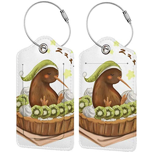 Luggage Tags Kiwi Leather Suitcase Labels Bag Travel Baggage Bag with Privacy Cover 2 Pcs Set