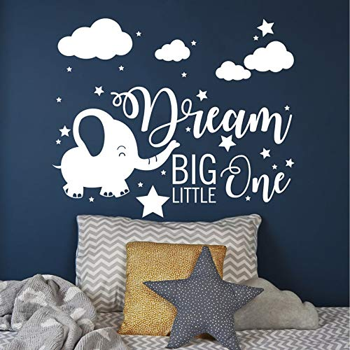 Elephant Sticker Dream Big Little One Decal Moon and Star Decal 22 Inch in Width Baby Room Decor Kids Wall Decal Yilooom Elephant Nursery Wall Decal