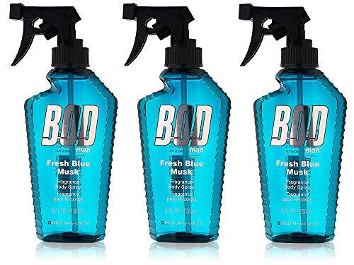 BOD Man Fresh Blue Musk Body Spray 8 Ounces (Pack of 3)
