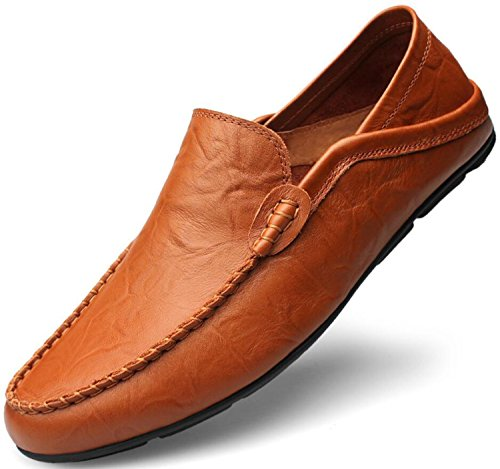 Go Tour Men's Premium Genuine Leather Casual Slip On Loafers Breathable Driving Shoes Fashion Slipper Brown 45