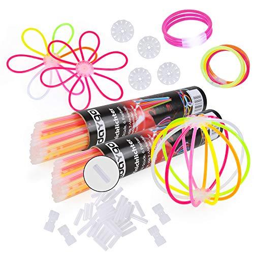 Edaygo Knicklichter Leuchtstäbe Glowsticks 200 Stück inkl. 200 T-Verbinder, 4 Ballverbinder, 4 x 7-Lochverbinder, 6 Farben