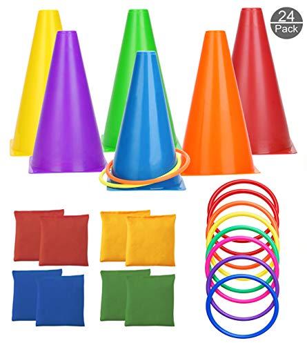 OOTSR [24 Pack] Weichen Verkehr Kegel Sitzsack Ring Toss Spiele Set - Sport Party Spiele Set für Indoor Outdoor Familie Garten Spiel Sport Day Games Supplies