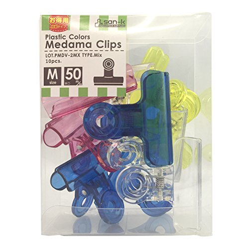 サンケーキコム 目玉クリップ 中 10個入 プラスチック製 挟口50mm PMDV-2MX 色込