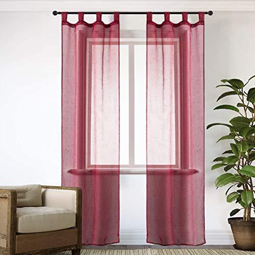 GIRASOLE Par de cortinas de gasa, transparentes, efecto lino, para salón, dormitorio,...