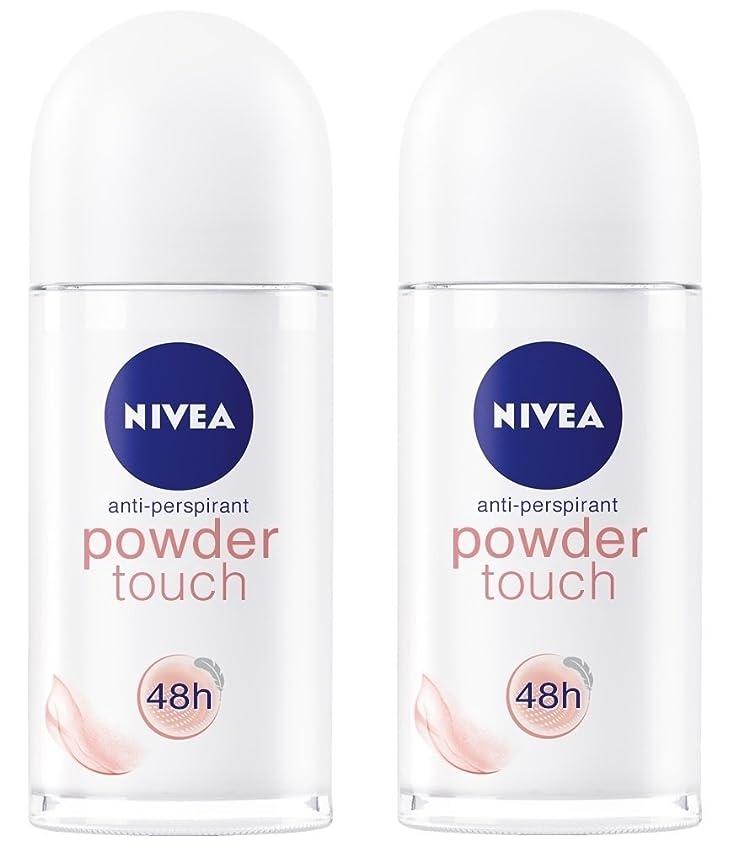 スキニー一節汚い(Pack of 2) Nivea Powder Touch Anti-perspirant Deodorant Roll On for Women 2x50ml - (2パック) ニベアパウダータッチ制汗剤デオドラントロールオン女性のための2x50ml