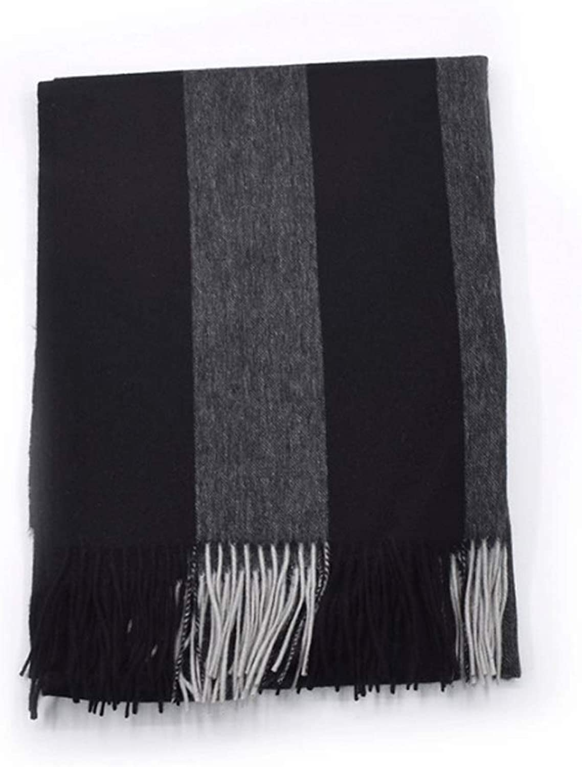Wool Cashmere Scarf Striped Shawl Thick Warm Fashion Wild Tassel Bib (color   C)