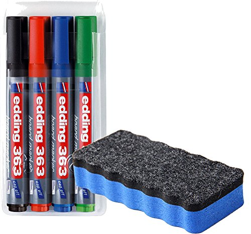 edding 363 Boardmarker (Keilspitze), 4-stück farblich sortiert / Kombi-Set (inkl. Whitboardlöscher blau, magnethaftend)