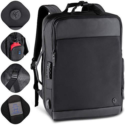 Franzani® hochwertiger All-in-One Rucksack mit 360° Öffnung, -viel Stauraum durch 10cm Erweiterung, wasserdicht, USB, Schloss & ideal für Kurztrips, Business, Uni mit Laptopfach