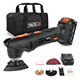 Tacklife PMT03B Multifunction Oscillating Tool with 18 V Battery, 2.0 Ah Lithium Ion Battery, Fast Charging for 1 Hour, 6 Variable Speed for Removal, Scraping, Cutting and Polishing of Malta, 24pcs Accessories and Carrying Bag Included