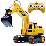 Fistone 8 Channel RC Excavator, 1/26 2.4Ghz Remote Control Tractor Car Toy Construction Vehicles Sand Digger Kids Toy for Boys Age 3 4 6 8 Years Old and Adults