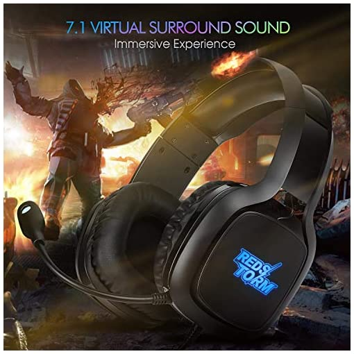 REDSTORM Auriculares Gaming PS3, Cascos Gaming con Micrófono Volteable, 7.1 Sonido Virtual Surround, RGB Luz, Peso… 7