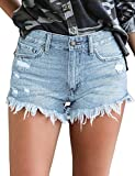 luvamia Women's Mid Rise Shorts Frayed Raw Hem Ripped Denim Jean Shorts Light Blue, Size S