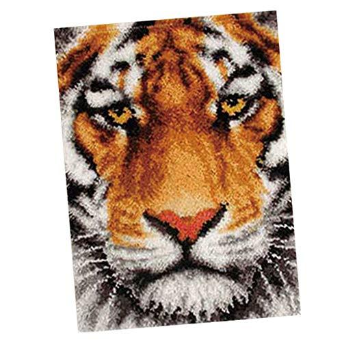Hellery Knüpfteppich Knüpfkissen Knüpfpackung Kunsthandwerk Latch Hook Kit Rug, 75x57cm Tiger/Wolf - Tiger