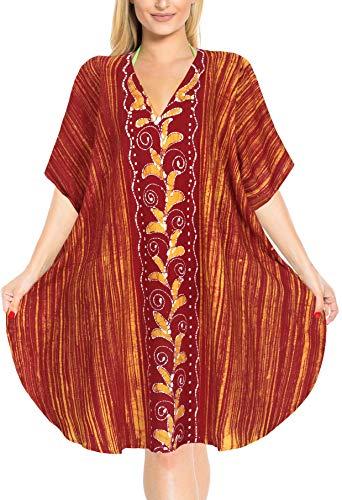 LA LEELA Strandkleid Damen Strandkleider Damen Sommer Bikini Badeanzug Cover Up Strandponcho Beachtime Strandkleid Damen Strandurlaub Orange_K233 DE Größe: 42 (L) - 48 (2XL)