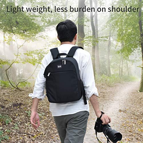Kamerarucksack Zecti DSLR Professional Schlagfest Fotorucksack Wasserdichter Leinwandfotografierucksack, Kameratasche Kompatibel für Nikon Sony Canon SLR Zubehör Schwarz