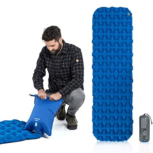 IOIOA Camping Sleeping Pad, Ultralight Backpacking Air Mattress with Pillow 3.9 Inch Thick Mat Hiking Sleeping Mat for Travelling & Outdoor Activities(Blue)