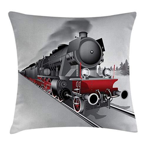 Shenguang Locomotora,Rojo,Negro,Tren en Acero,vía férrea,Viaje,Aventura,Estampado gráfico,Funda de Almohada,sofá Decorativo para el hogar (18 x 18 Pulgadas)