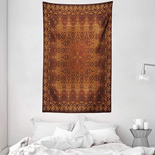 ABAKUHAUS Vendimia Tapiz de Pared y Cubrecama Suave, Encaje Árabe Persa, Estampado Digital Vívido, 140 x 230 cm, Marrón Anaranjado