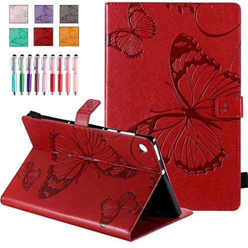 QYiD Leather Case for Galaxy Tab A 8.0 2019 (SM-P200/P205), Butterfly Embossing Design PU Leather Book Folio Smart Cover with Pen Holder for 8.0 Inch Galaxy Tab A SM-P200 SM-P205, Red