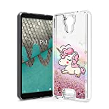 Tempered Glass + Glitter Motion Liquid Protective Case Phone Cover for Cricket Icon U304 + Gift Stand (Unicorn)
