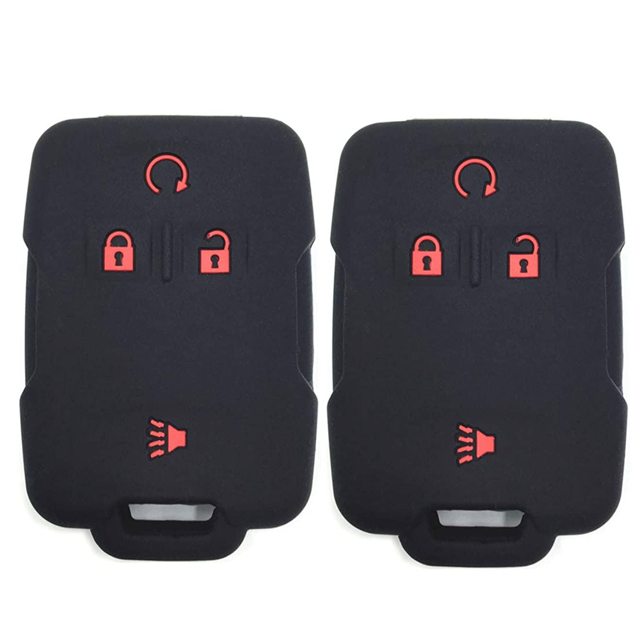 Ezzy Auto Pack 2 Black with Red Buttons Silicone Rubber Key Fob Case Key Covers Keyless Remote Jacket Skin Protector fit for Chevrolet Silverado Colorado GMC Sierra Yukon Cadillac