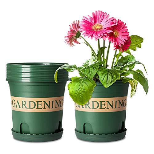 Mengxin 5 Pièces Pot de Fleur Plastique avec Plateau 16 CM Pot Pépinière Conteneur Plante pour Orchidée Herbe Aloès Décoration de Jjardin Vert