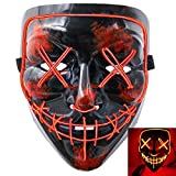 heytech Halloween Scary Mask Cosplay Led Costume Mask EL Wire Light up for Halloween Festival Party (Black-red)