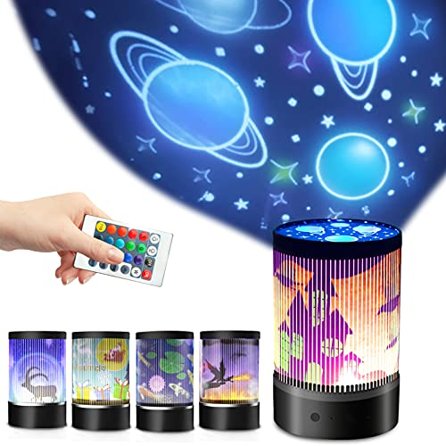 Greenke Bedside Night Light Rechargeable Children Baby Nursing Table Lamp Gradual Rotating Starry Projector, Animated Hanging lamp with Remote Control for Christmas Halloween Bedroom Decor - Black