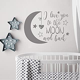 BATTOO I Love You To The Moon and Back- Moon and Stars Wall Sticker Baby Nursery Wall Decor - Kids Room Wall Decal Quotes ...