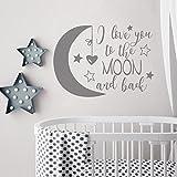 BATTOO Wandsticker mit Aufschrift 'I love you to the moon and back', Mond und Sterne, für Kinderzimmer, Wanddekoration für Babybett, 55,9 cm breit, 16 cm hoch