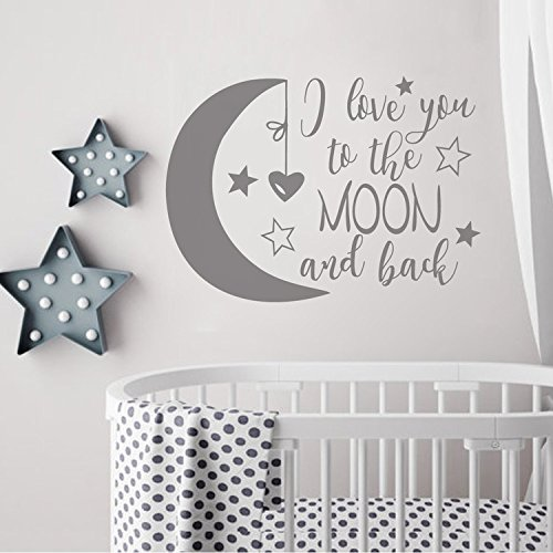 BATTOO I Love You to The Moon and Back- Moon and Stars Wall Sticker Baby Nursery Wall Decor - Kids Room Wall Decal Quotes - Baby Crib Wall Decor(Dark Gray, 16' WX11.5 H)